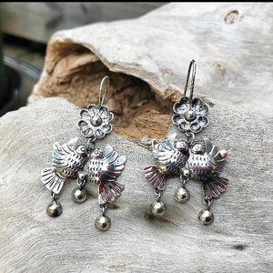 Sterling dangle Mexican love bird earrings, ethnic